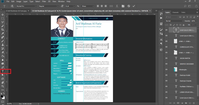 Gambar cara edit CV di photoshop
