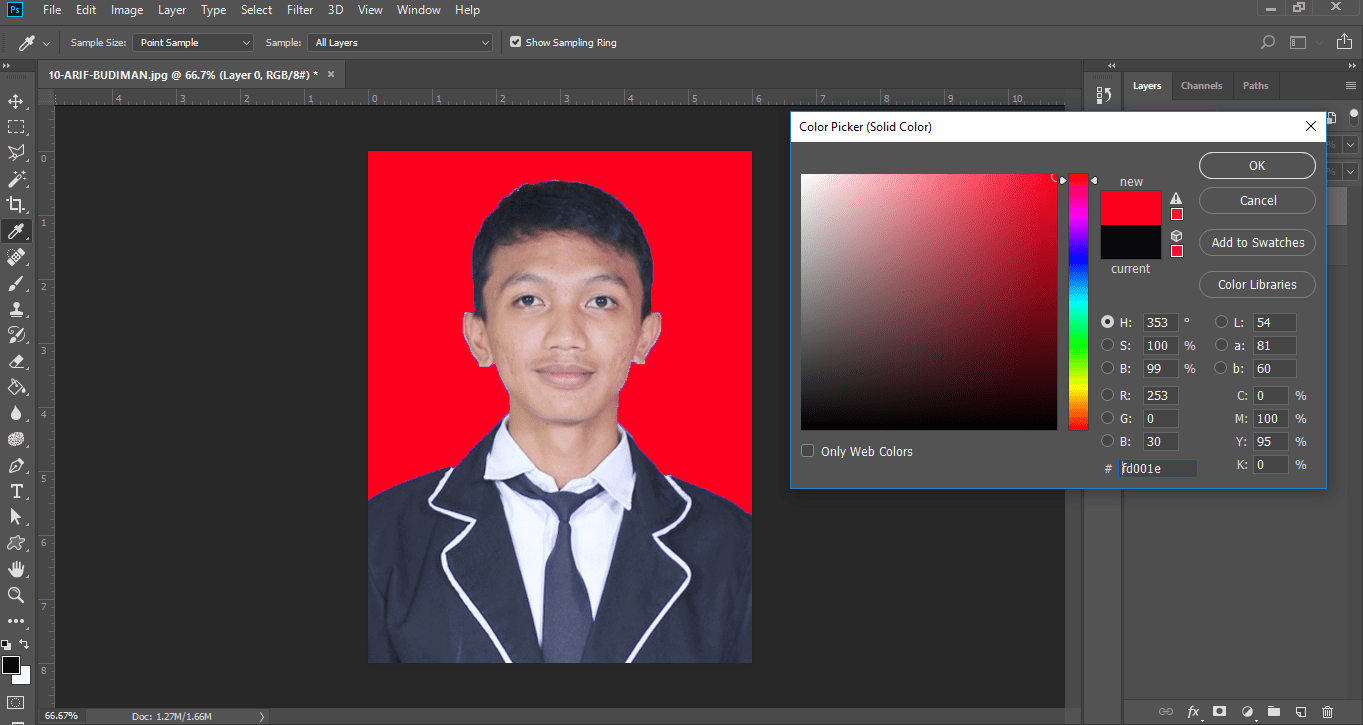 Ilustrasi hasil edit foto dengan solid color