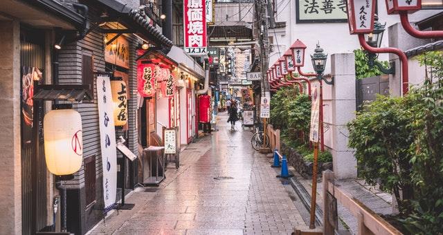 Ilustrasi tempat yang mencirikan Jepang
