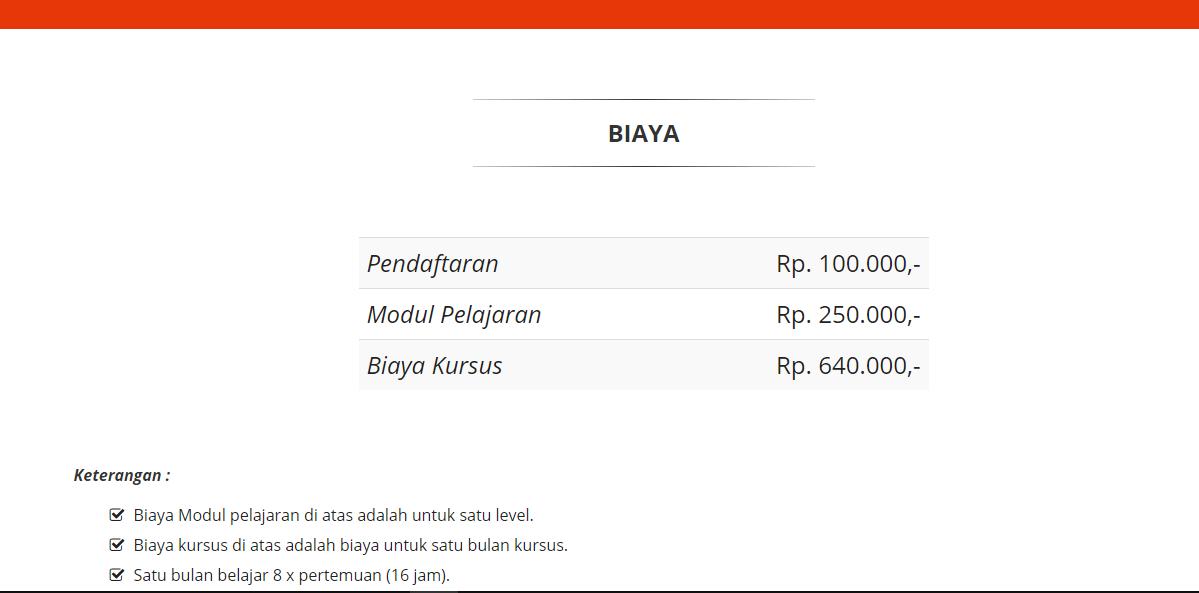 Informasi biaya kursus kelas reguler