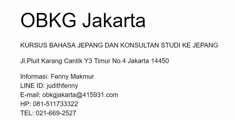 Informasi kontak kursus